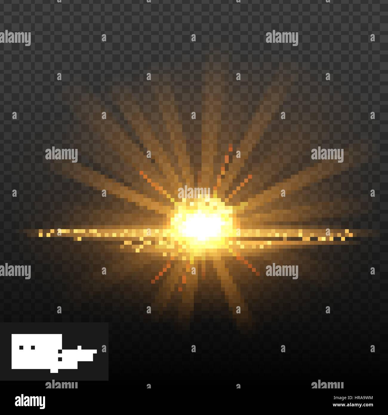 Bright shining sun/star. Isolated on black background. Sunrise over the water. Vector illustration, eps 10. - Stock Vector