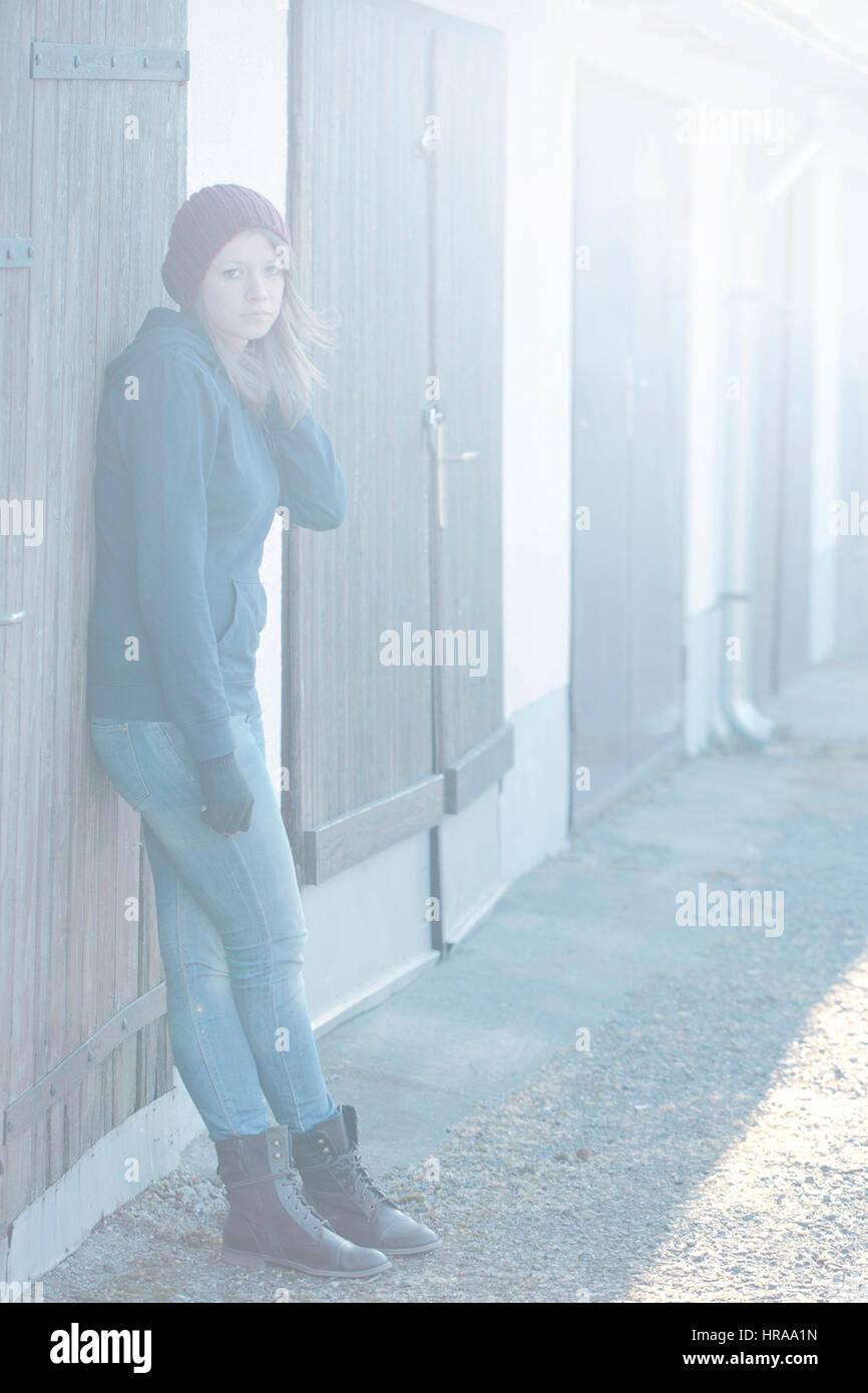 Sad teen girl - Stock Image