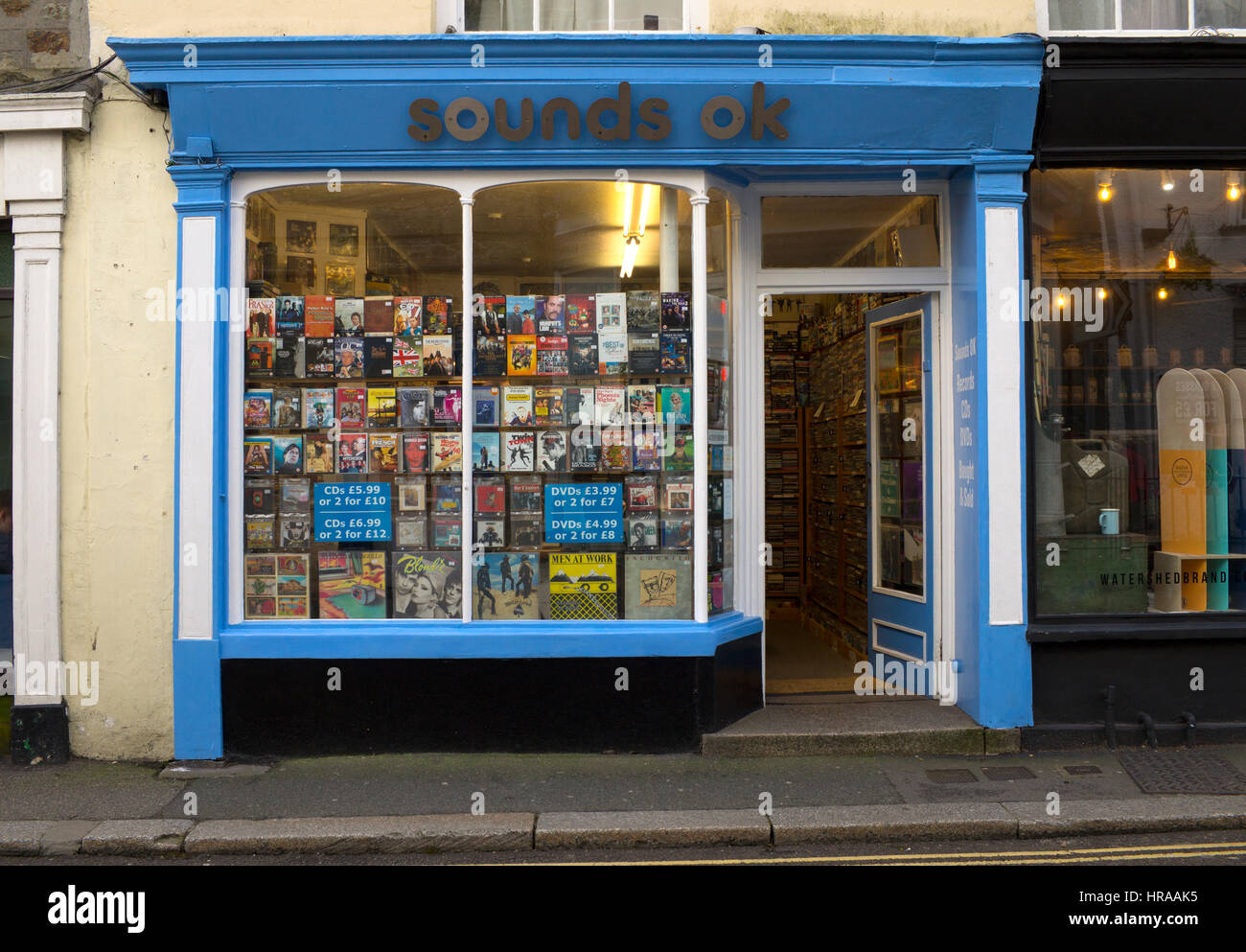 Sounds OK record and DVD shop in Falmouth, Cornwall England UK - Stock Image