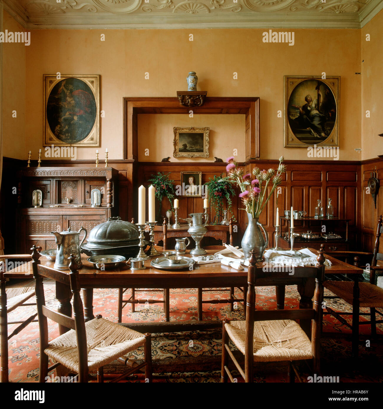 a dining room with wood panelling stock photo 134838003 alamy rh alamy com Wainscoting Styles in Dining Rooms Dining Room Molding Ideas