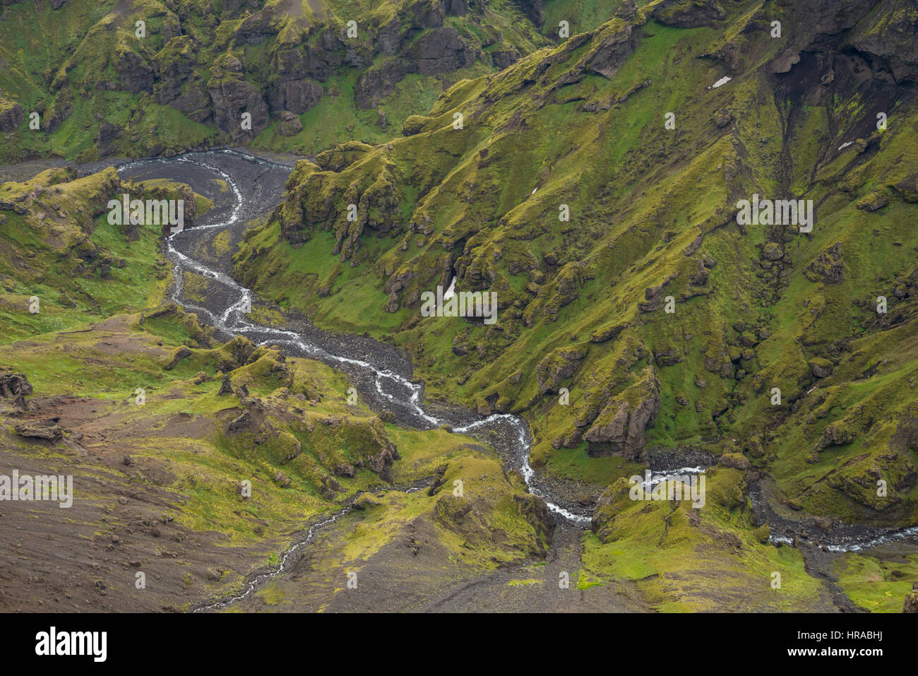 Scenic landscape of Fimmvorduhals hike in Iceland - Stock Image