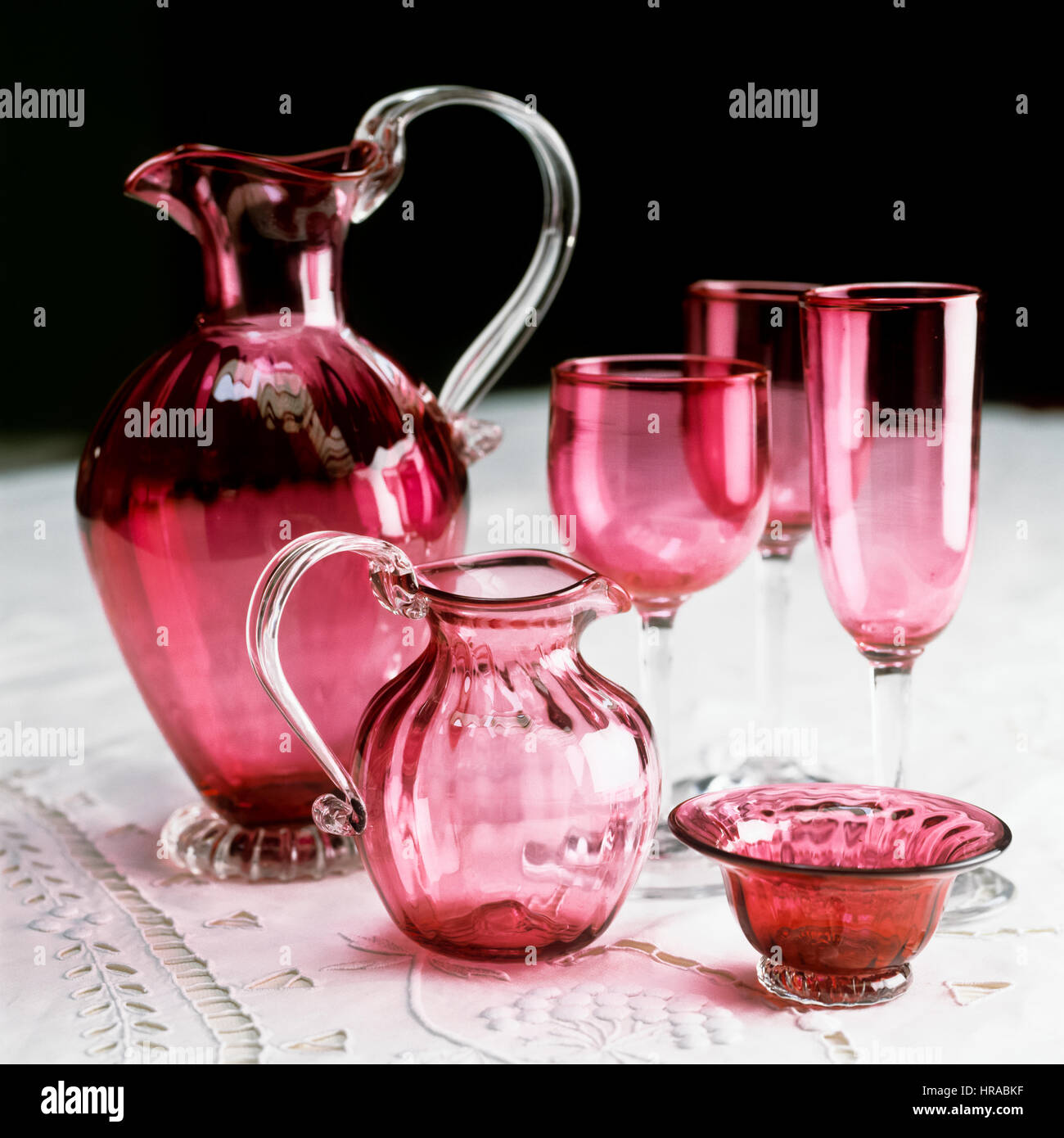 Red glassware. - Stock Image