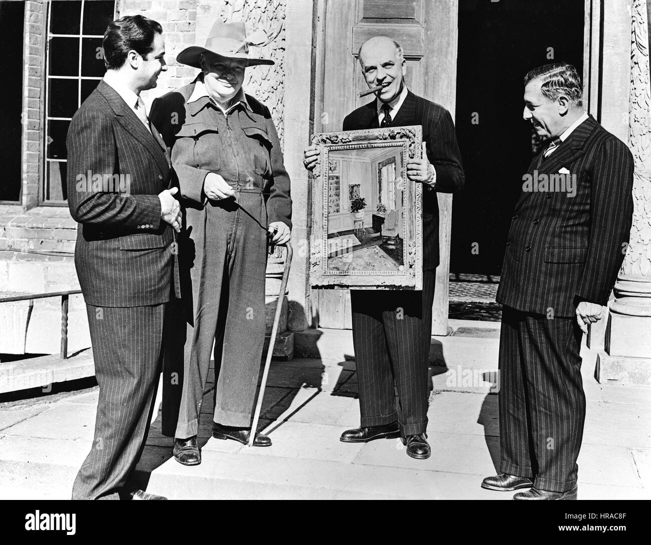 Churchill at Chartwell with the Men from Brazil and his painting 'At Westerham'. - Stock Image