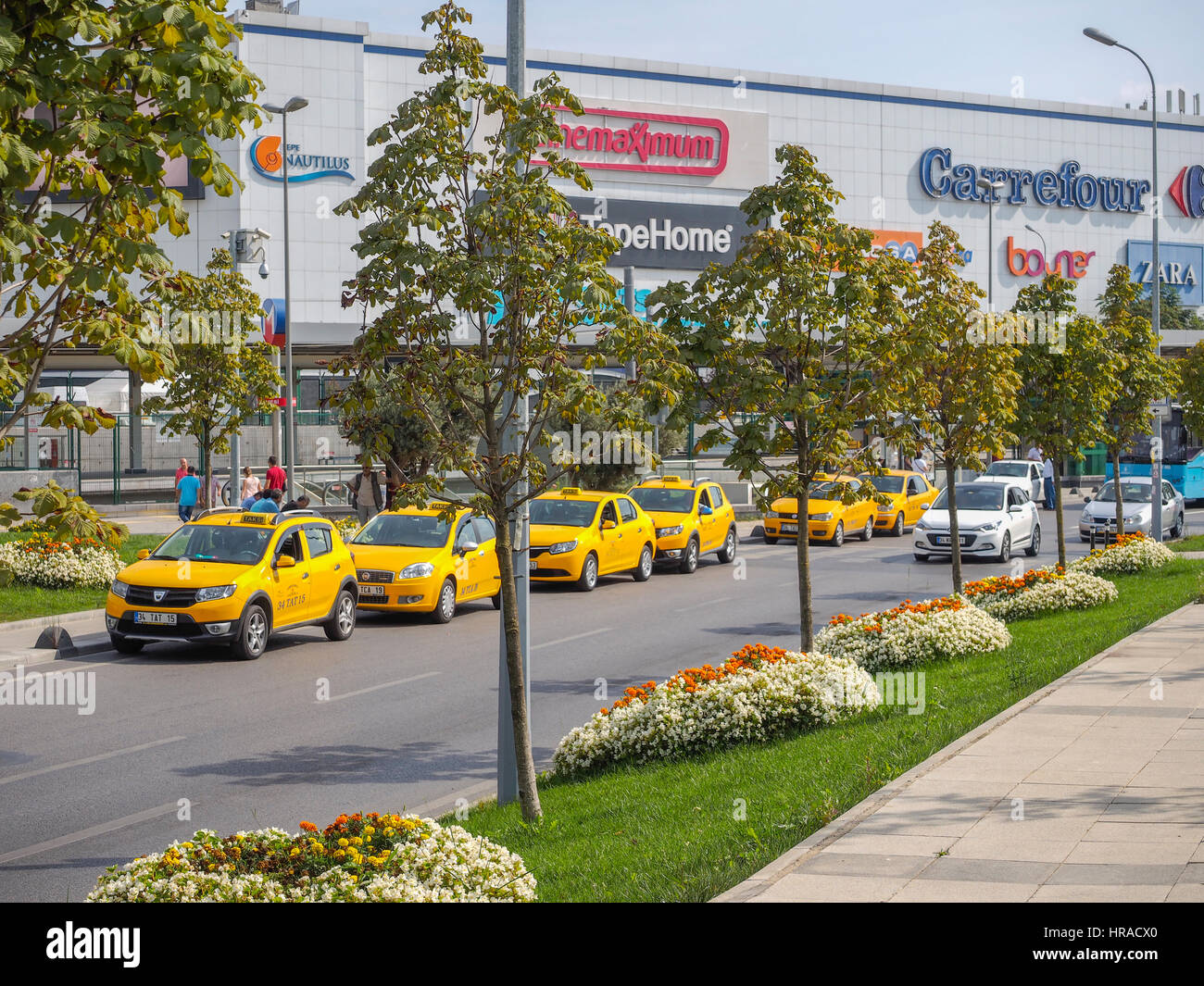 Taxis in rank, waiting for fare, Istanbul (eastern side) Turkey Stock Photo