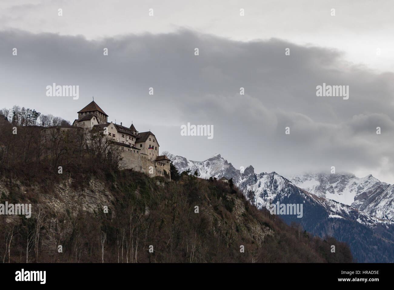Vaduz Castle overlooking the city below it in Liechtenstein in winter Stock Photo