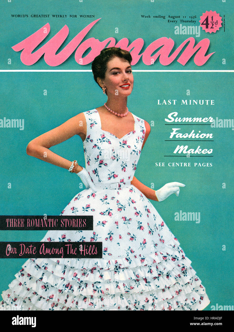 Front cover of Woman magazine for 11th August, 1956. - Stock Image