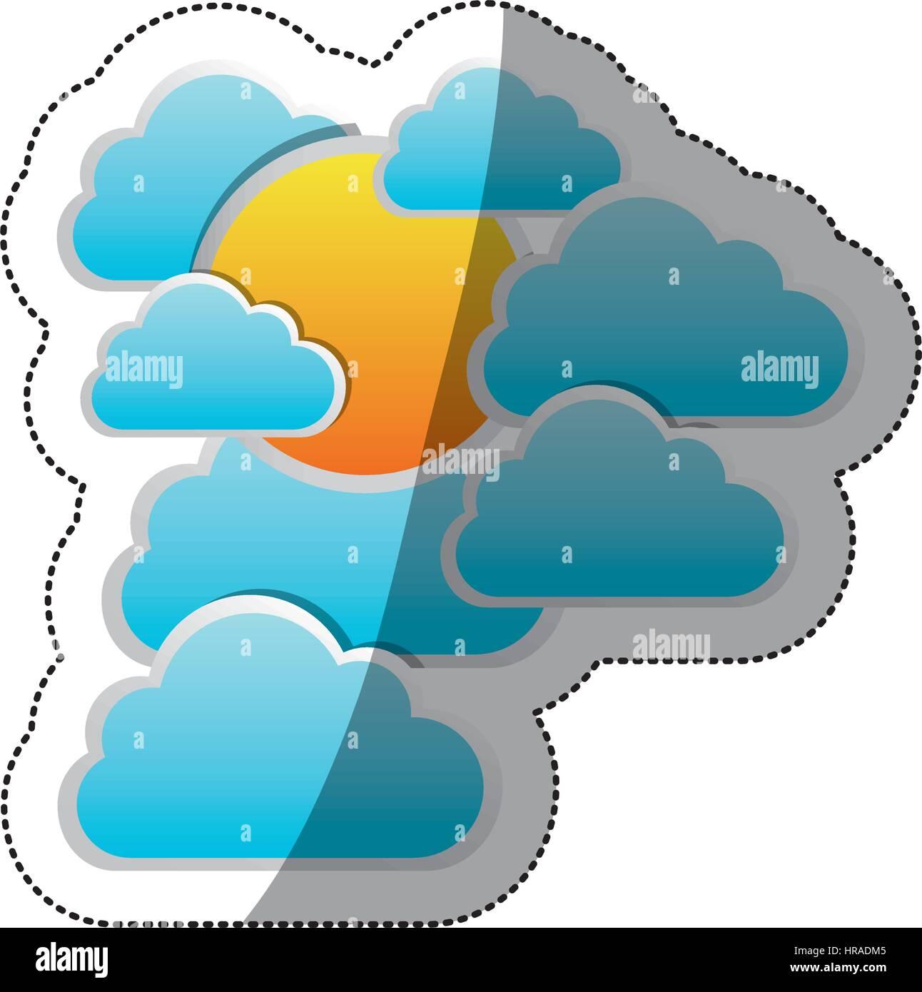 sticker cloudscape with sun between cumulus - Stock Vector