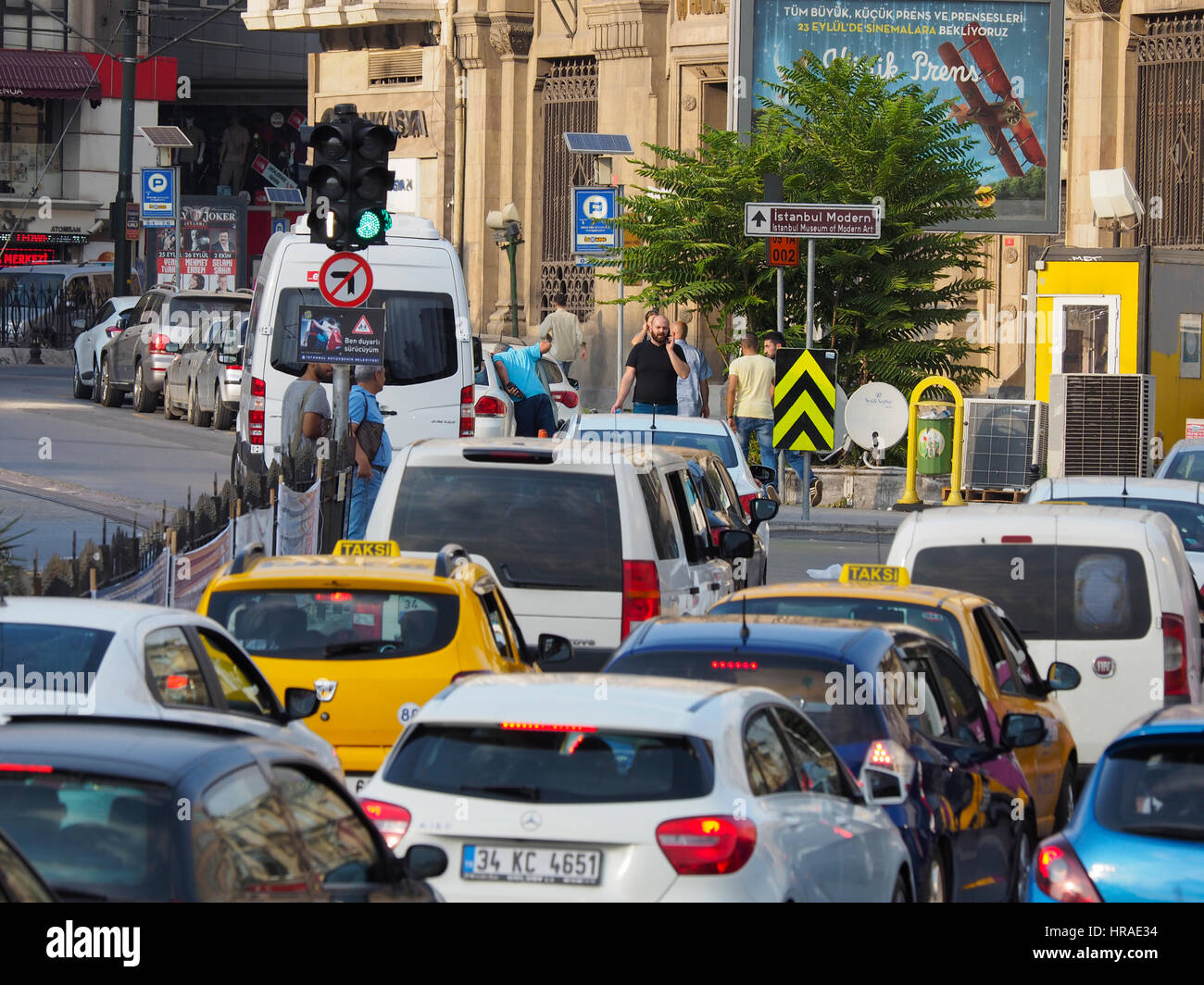 Taxis in traffic,near Istanbul Museum,  Istanbul (western side) Turkey - Stock Image