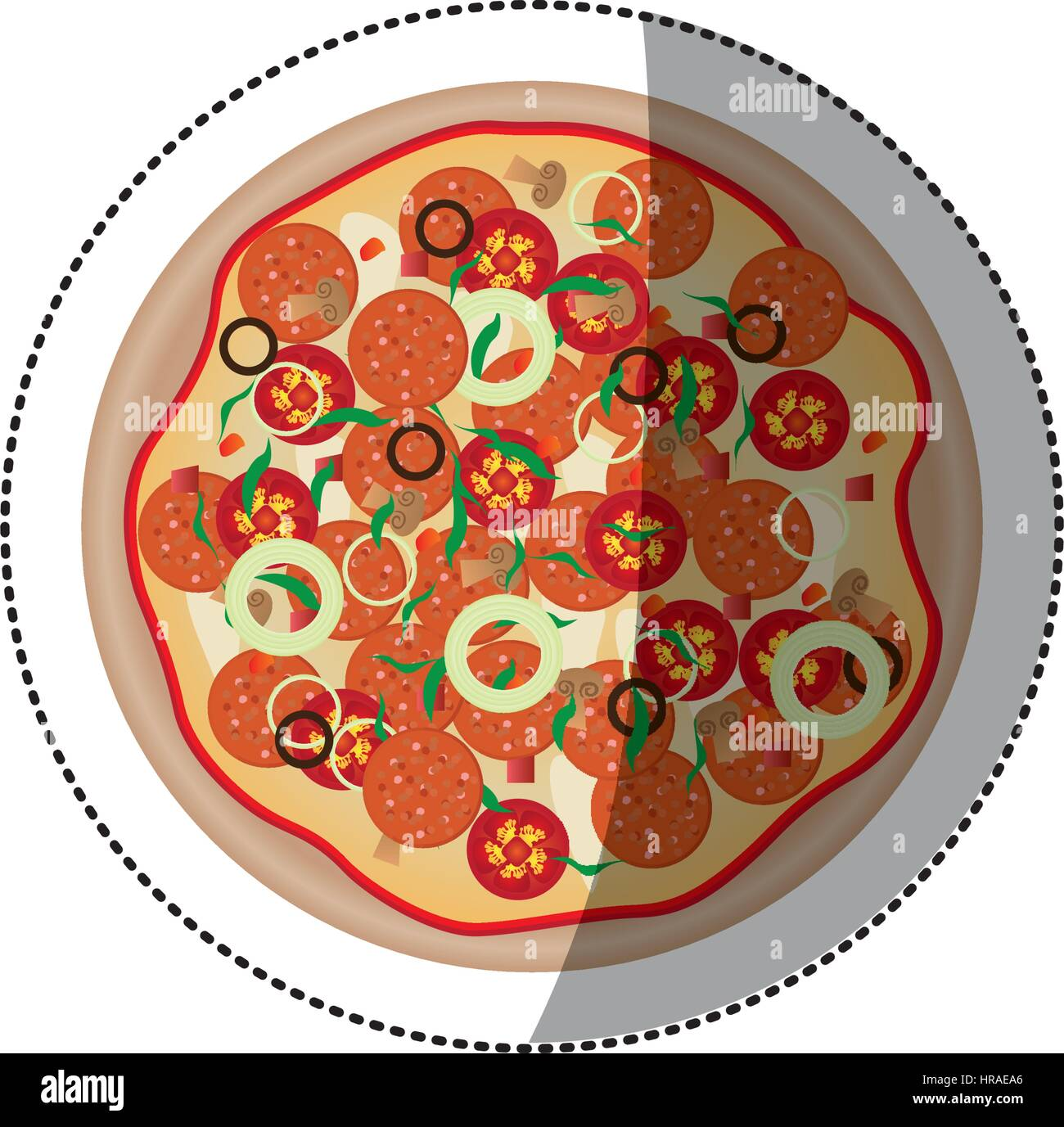 sticker colorful rounded pizza icon fast food - Stock Vector