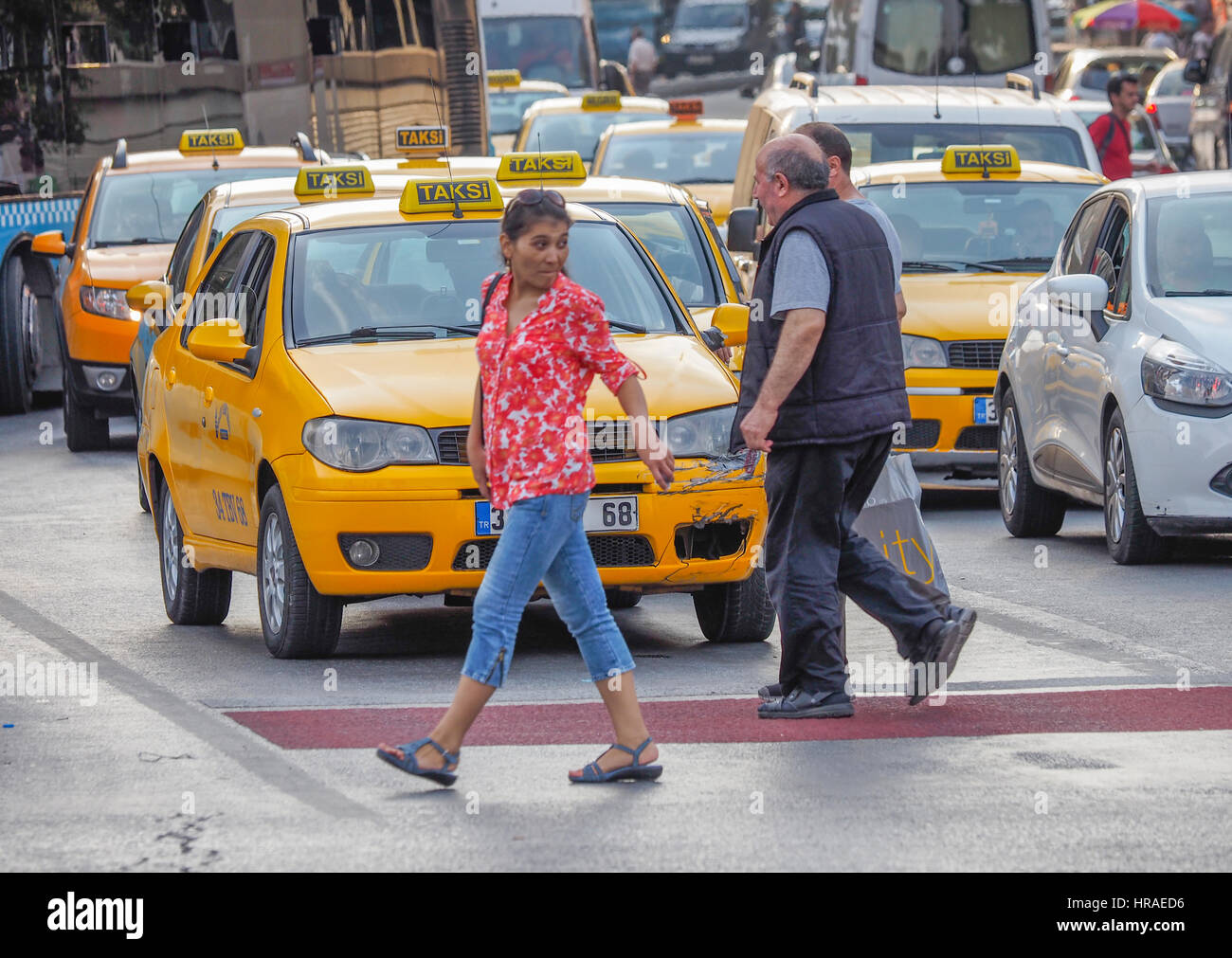 Taxis in traffic, Istanbul (western side) Turkey Stock Photo