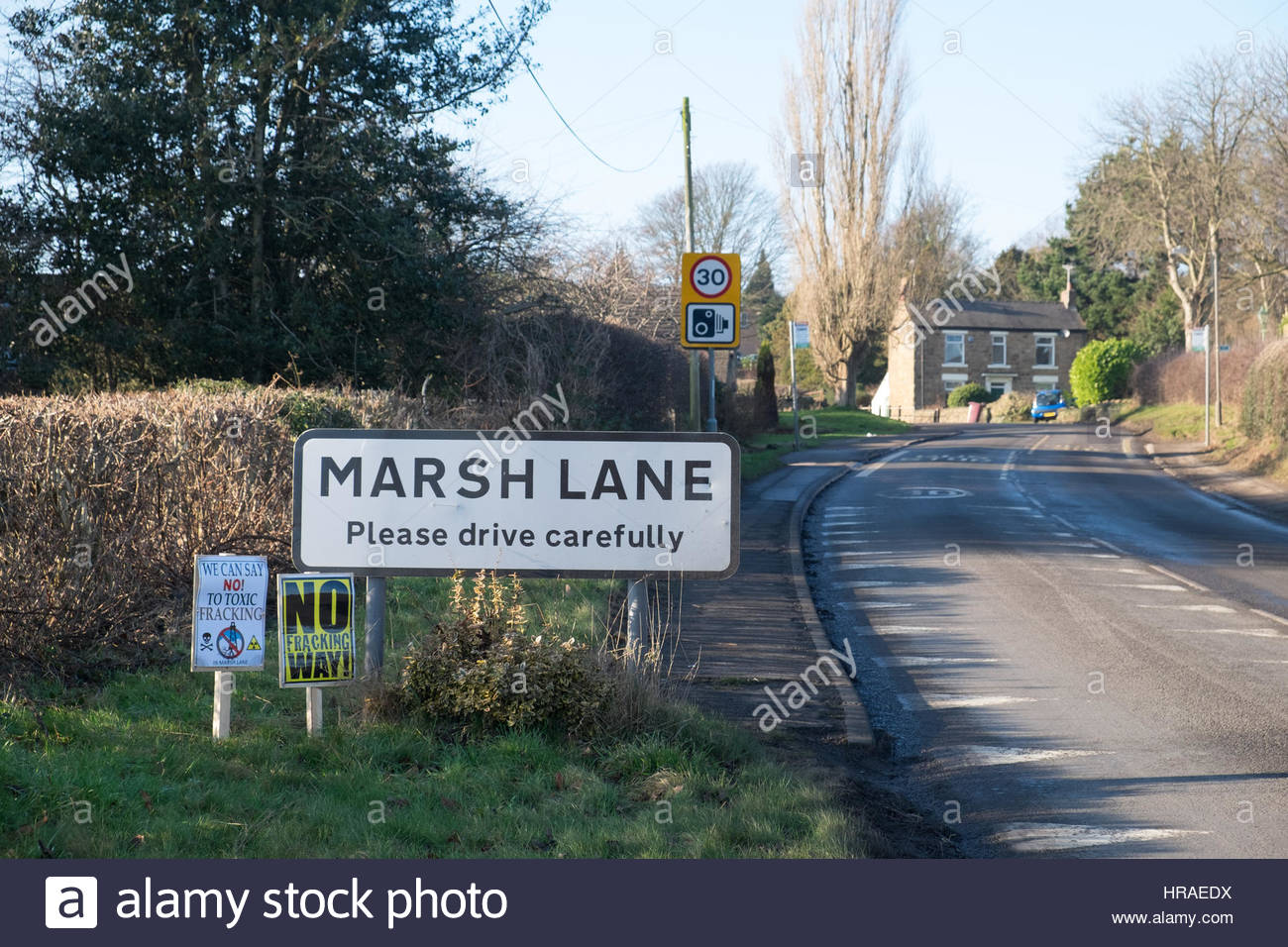 Marsh Lane, the village in Derbyshire where INEOS have put forward a planning application to set up a test drill - Stock Image