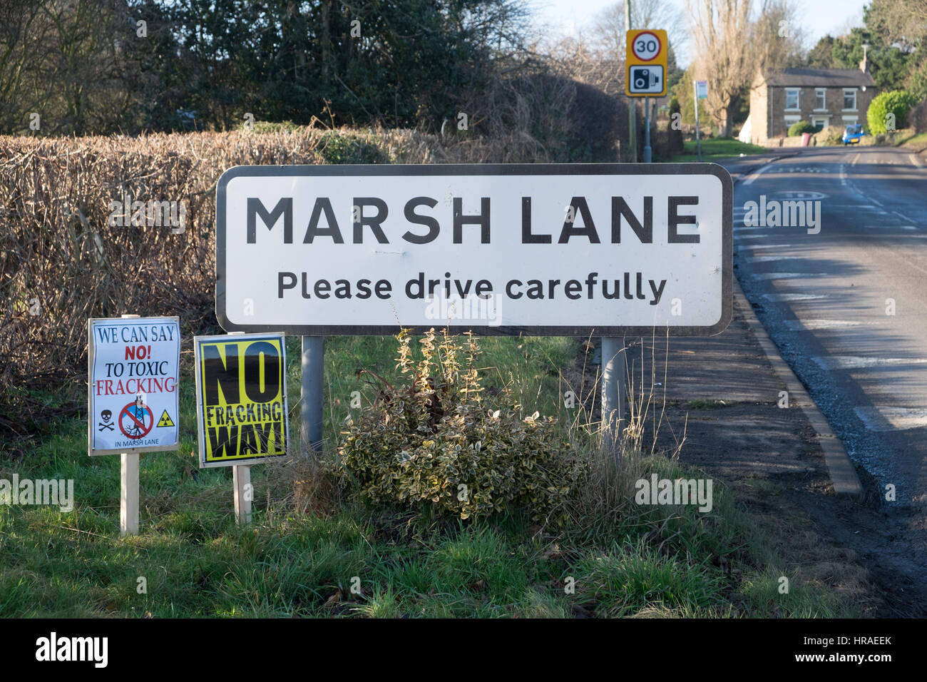 Marsh Lane, the village near Eckington in Derbyshire where INEOS have put forward a planning application to set - Stock Image