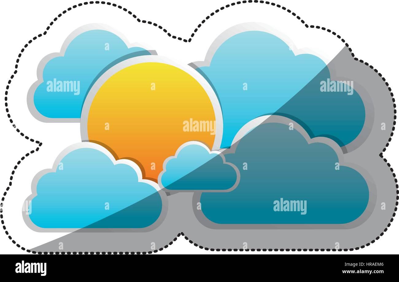 sticker cloudscape with cumulus shape and sun - Stock Vector