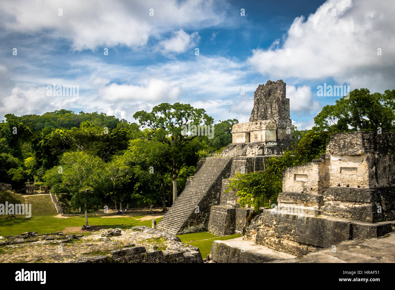 Mayan Temple II at Tikal National Park - Guatemala - Stock Image
