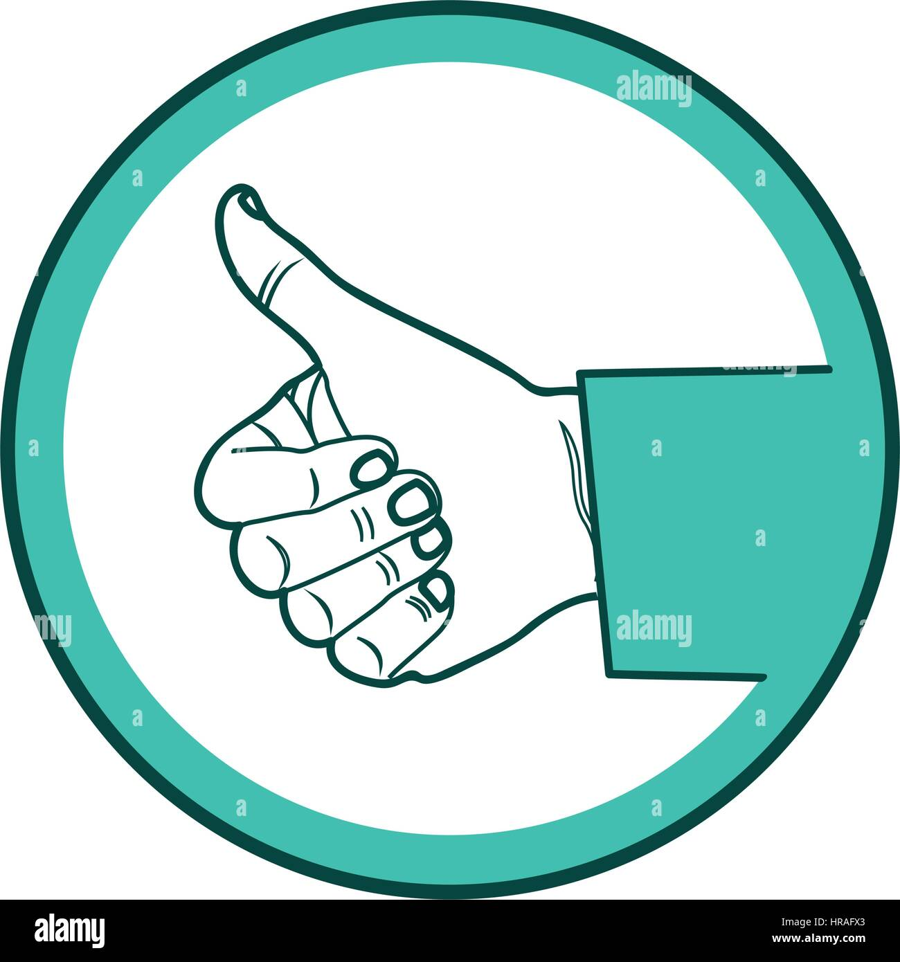 color circular frame of hand with signal ok Stock Vector