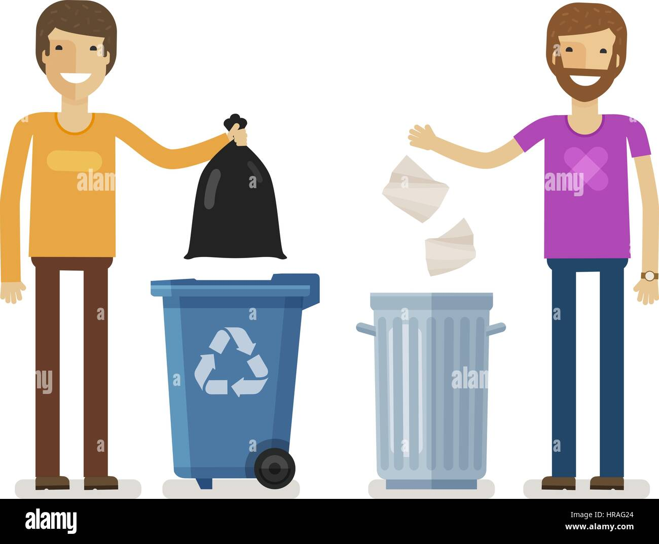 Human, man throws rubbish in garbage bin. Volunteering people, ecology, environment concept. Flat characters vector - Stock Image