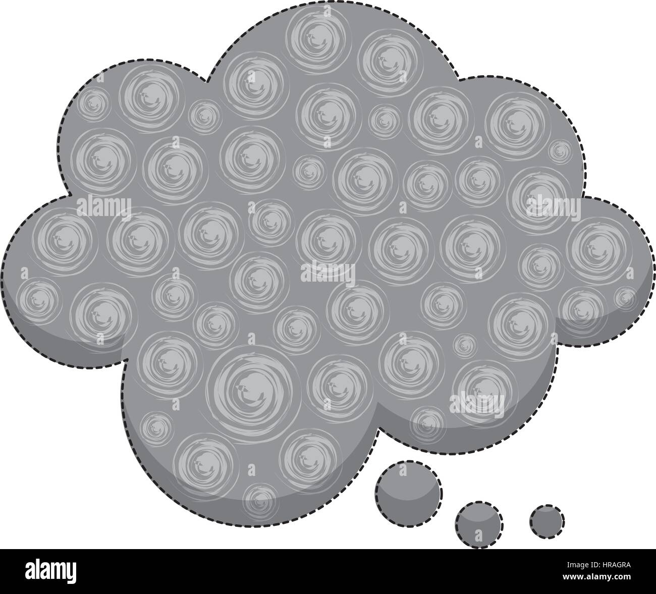 sticker callout for dialogue shape of cloud with background swirls - Stock Image