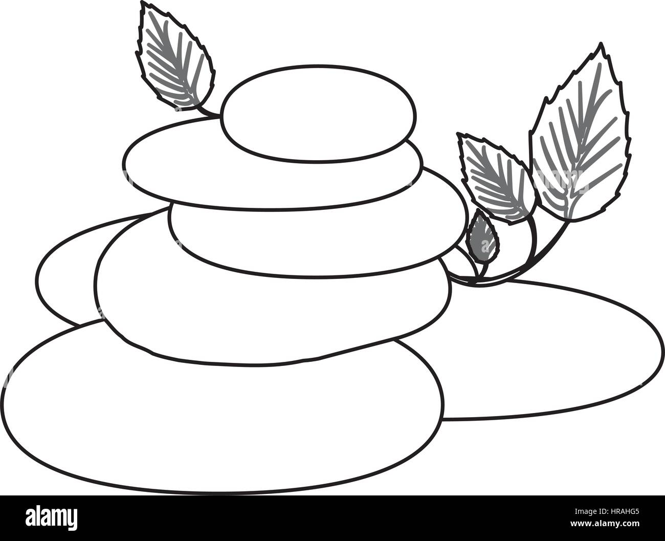 contour of spa therapy lava stones and creeper plant - Stock Vector