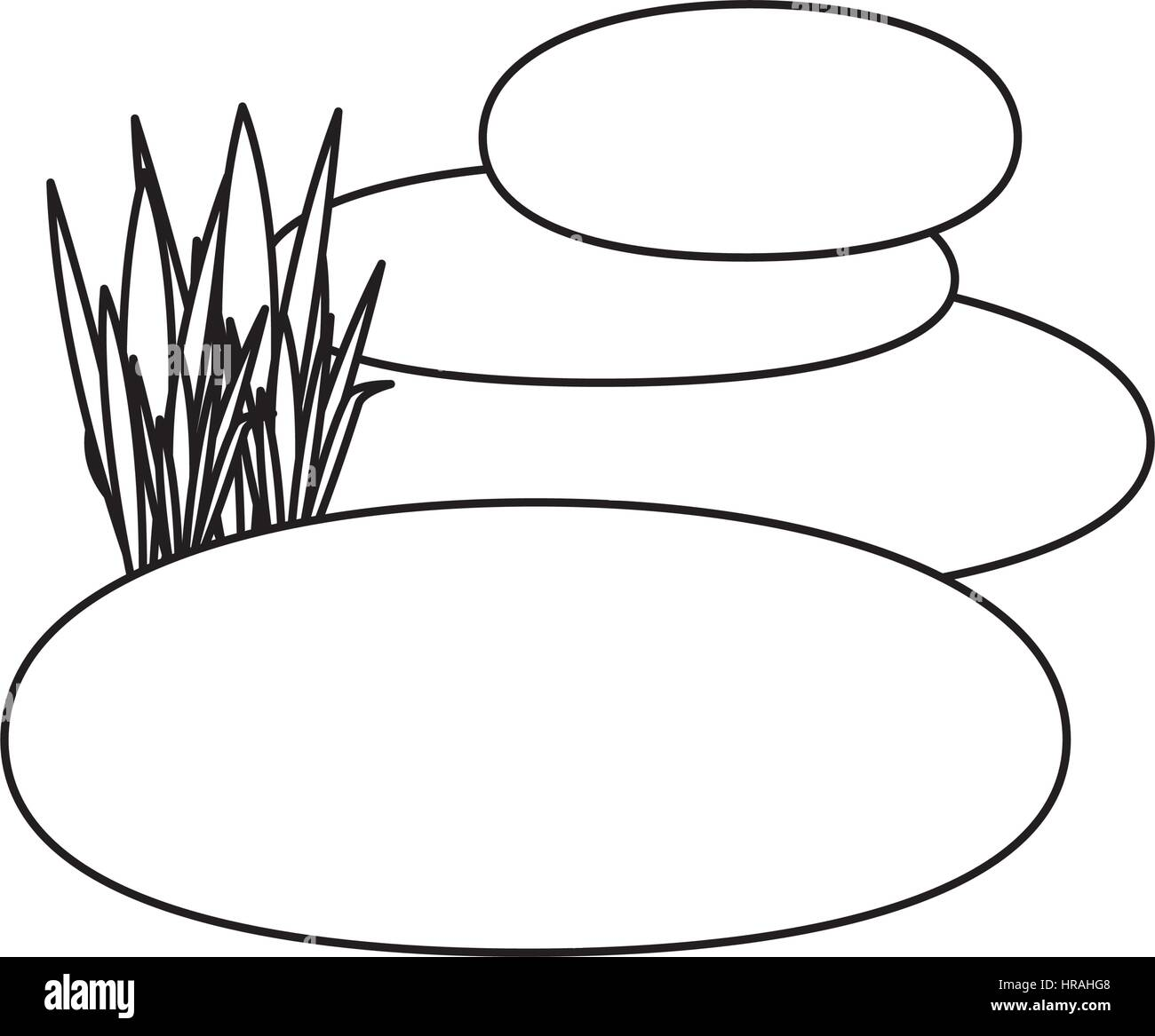 contour of spa therapy lava stones and grass - Stock Vector