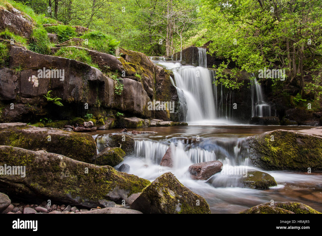 Blaen y Glyn Waterfalls above Talybont Reservoir in the Brecon Beacons National Park, Wales, UK - Stock Image