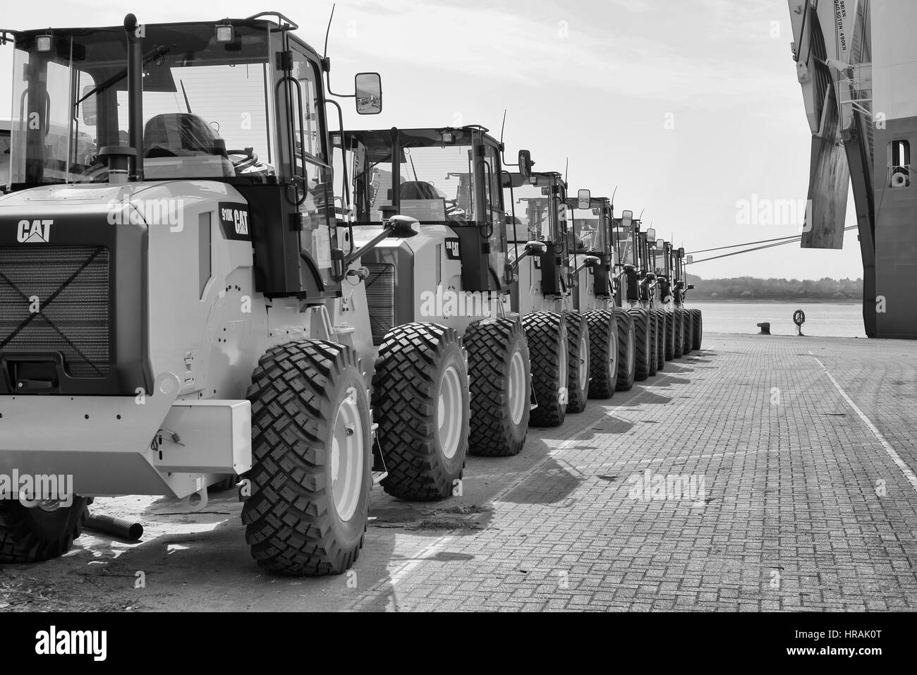 Commercial vehicles for export at The Port of Southampton, Hampshire, England - Stock Image