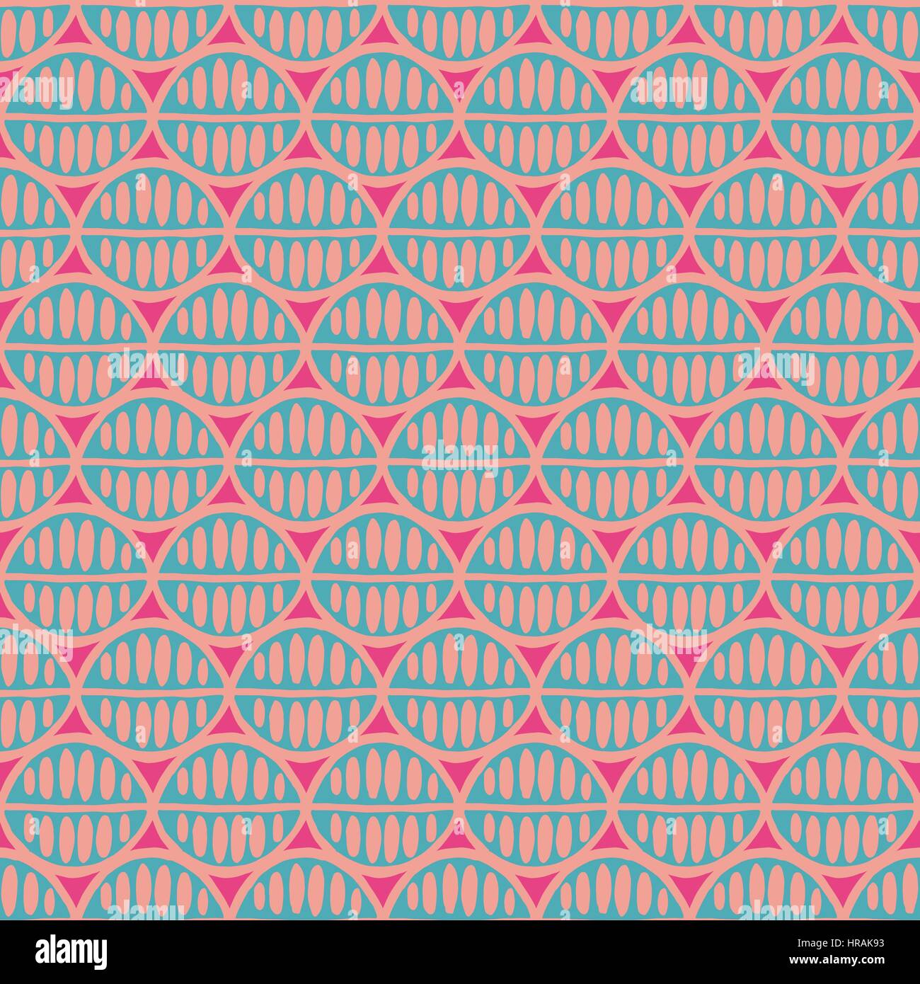 Seamless floral pattern with primitive leaves. Tribal ethnic background, simplistic geometry, mint and pink. Textile - Stock Image