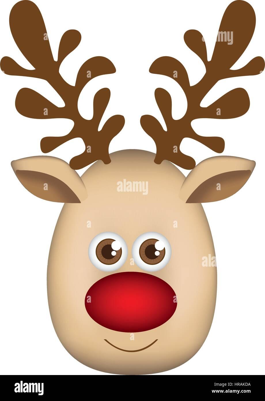acaa45ce0a1 colorful cartoon cute face reindeer animal - Stock Vector