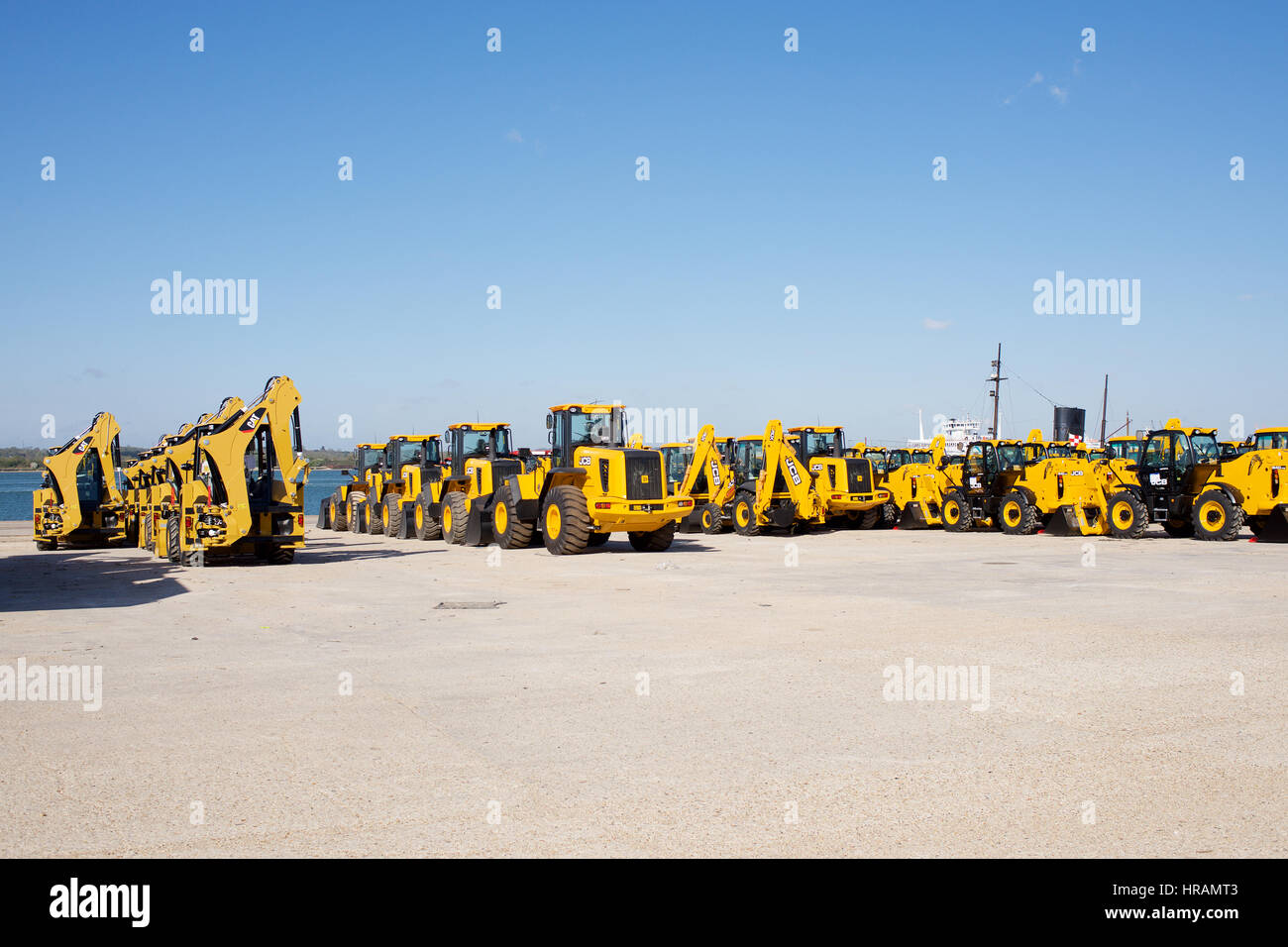 Vehicles stored at The Port of Southampton, England - Stock Image