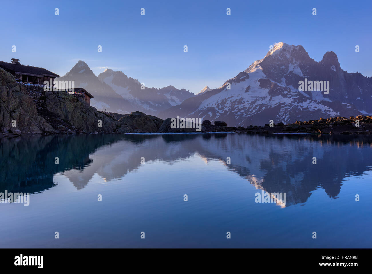 Mont Blanc Massif Reflected in Lac Blanc, Graian Alps, France Stock Photo
