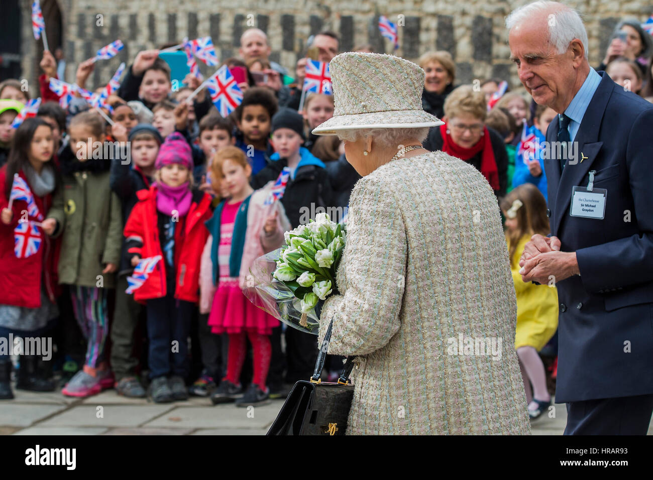 London, UK. 28th Feb, 2017. The Queen is escorted by Sir Michael Graydon - The Queen, accompanied by The Duke of - Stock Image