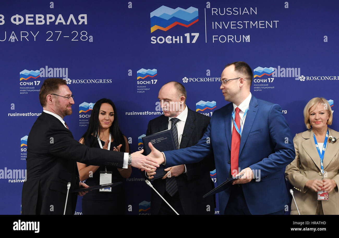 Sochi, Russia. 28th Feb, 2017. Russian Copper Company President Vsevolod Levin, Chelyabinsk Region Governor Boris - Stock Image