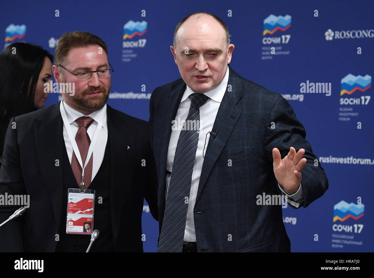 Sochi, Russia. 28th Feb, 2017. Russian Copper Company President Vsevolod Levin (L) and Chelyabinsk Region Governor - Stock Image