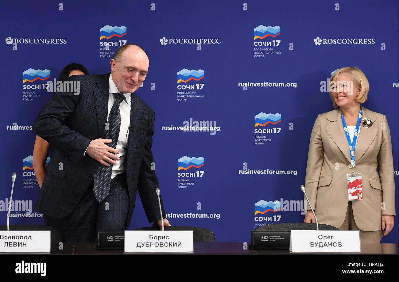 Sochi, Russia. 28th Feb, 2017. Chelyabinsk Region Governor Boris Dubrovsky (L) and Irina Makieva, Deputy Chairperson - Stock Image