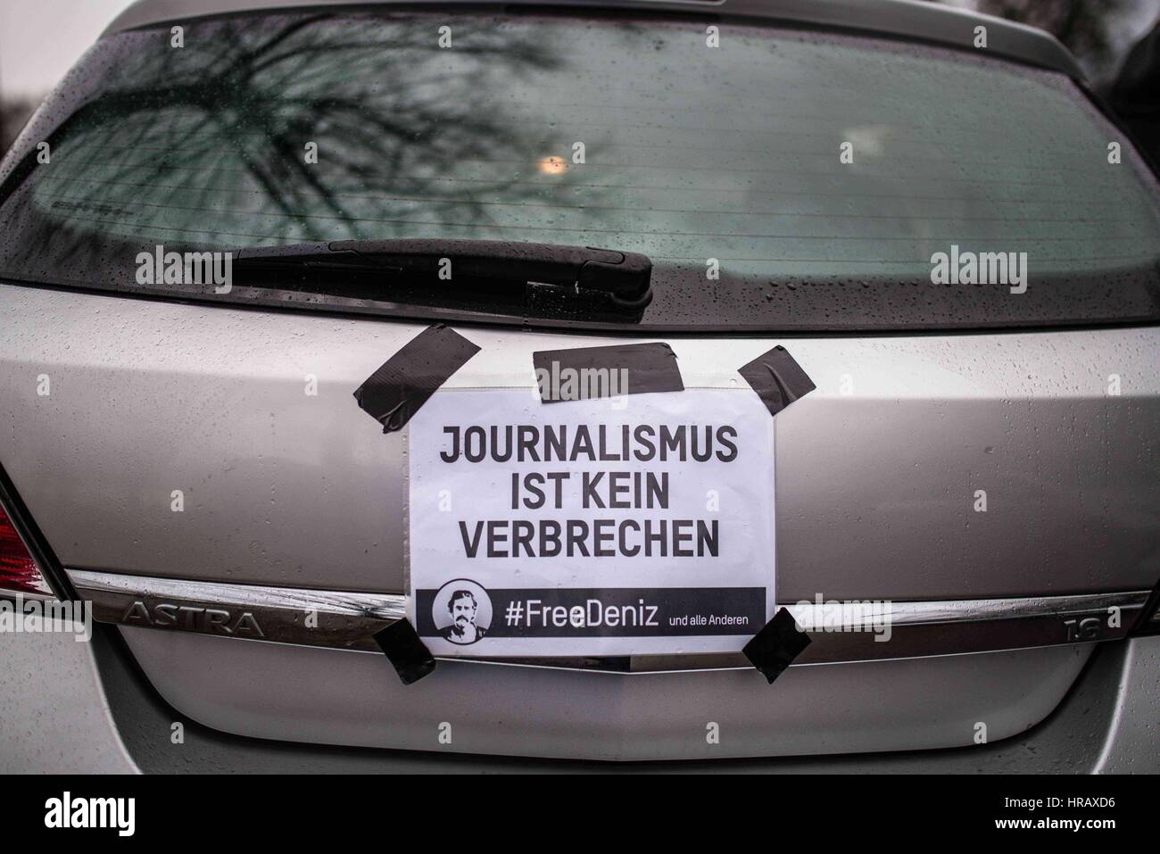 February 28, 2017 - Approximately 35-40 in 30 cars protested in a motorcade from Munich's Bavariapark, eventually Stock Photo