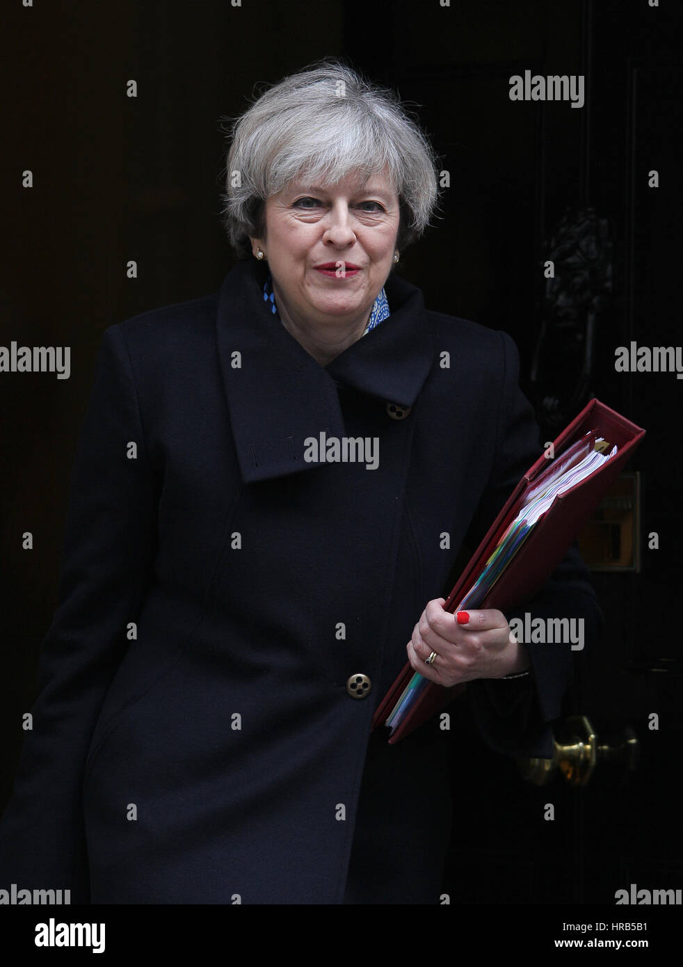 London, UK. 1st Mar, 2017. Prime Minister Theresa May seen leaving 10 Downing street for PMQs at the House of Commons. Stock Photo