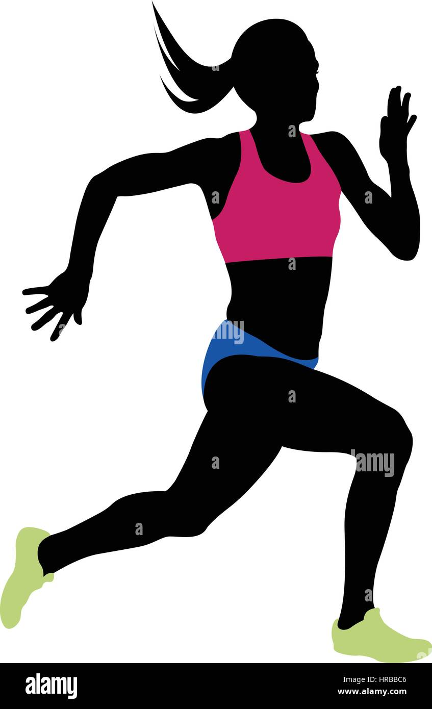 young woman athlete runner running sprint Stock Vector