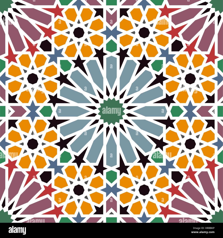 arabesque traditional arabian mosaic tile seamless pattern vector