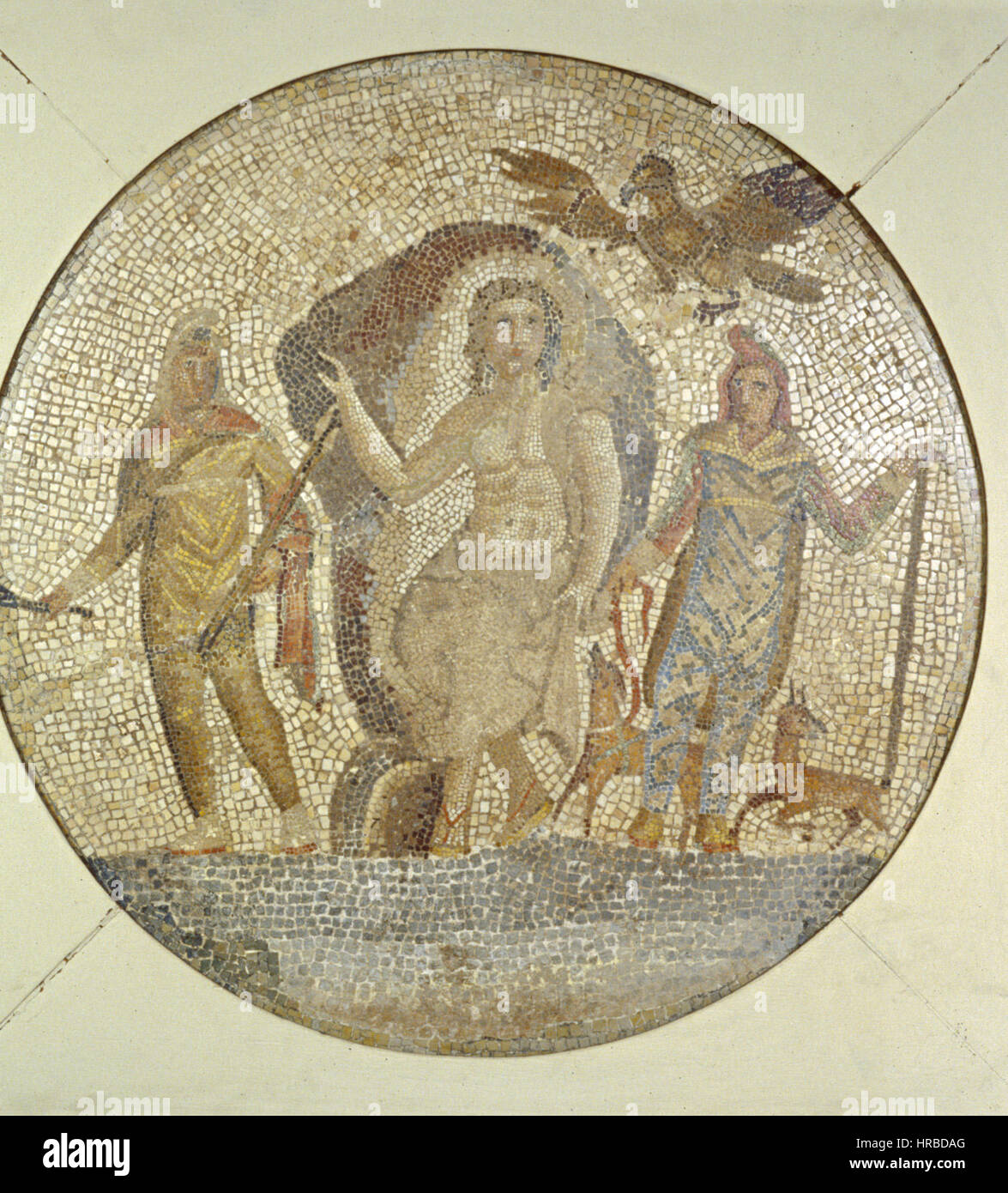 Roman - Fragment of a Mosaic with Mithras - Walters 437 - Stock Image