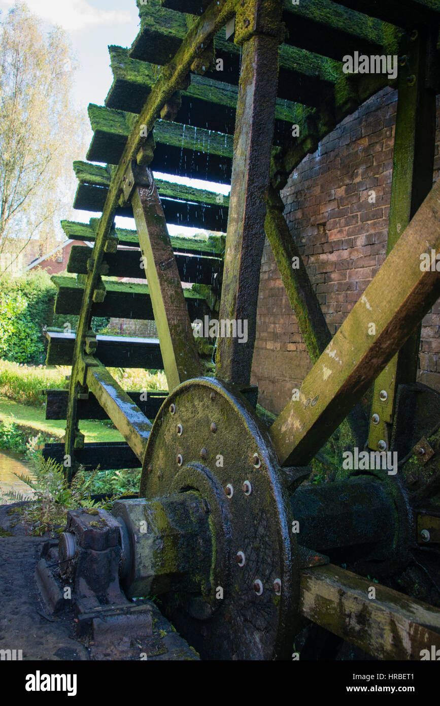Waterwheel at the Cheddleton Flint Mill, Staffordshire - Stock Image