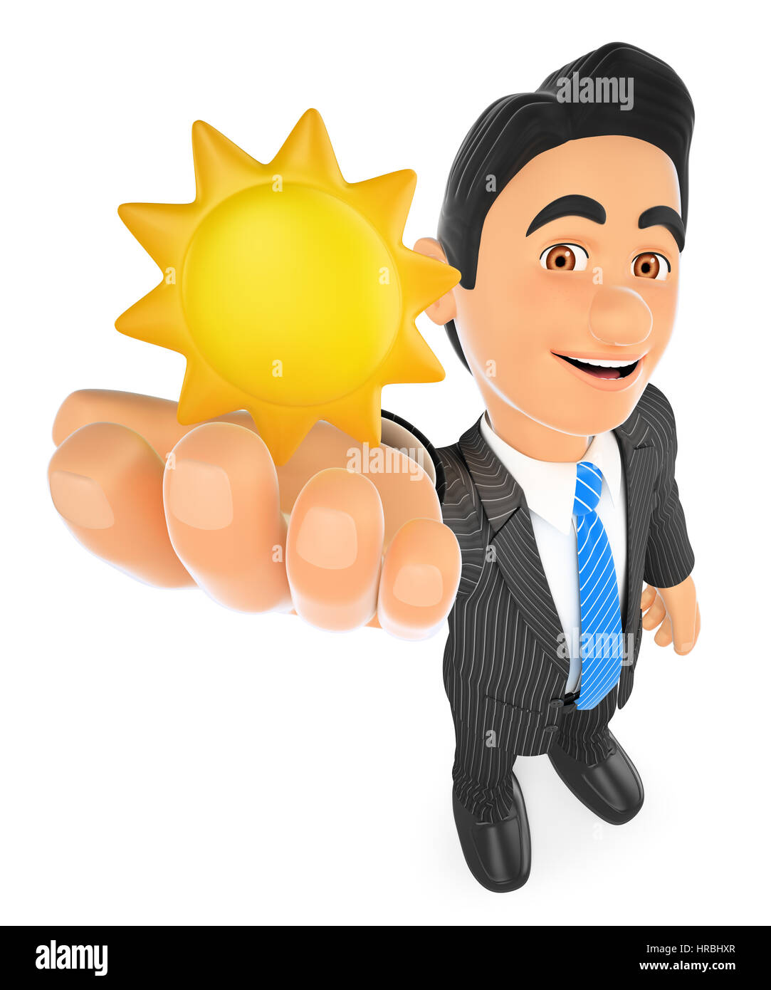 3d business people illustration. Weather man with a sun. Sunny day. Isolated white background. - Stock Image