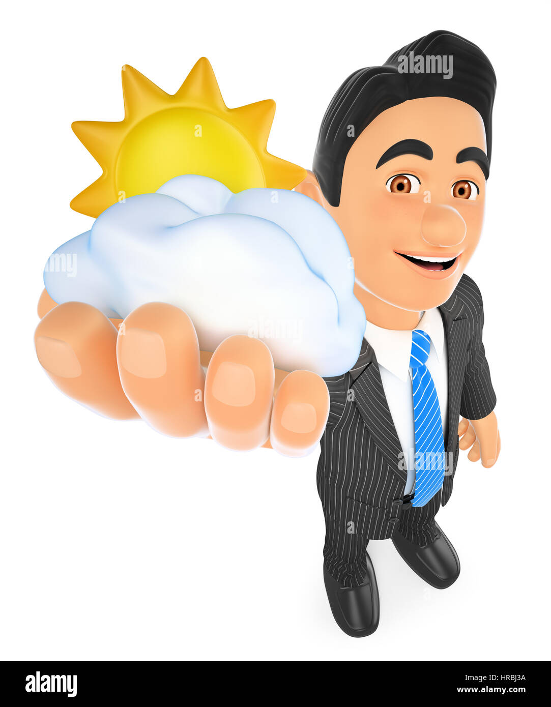 3d business people illustration. Weather man with sun and cloud. Cloudy day. Isolated white background. - Stock Image