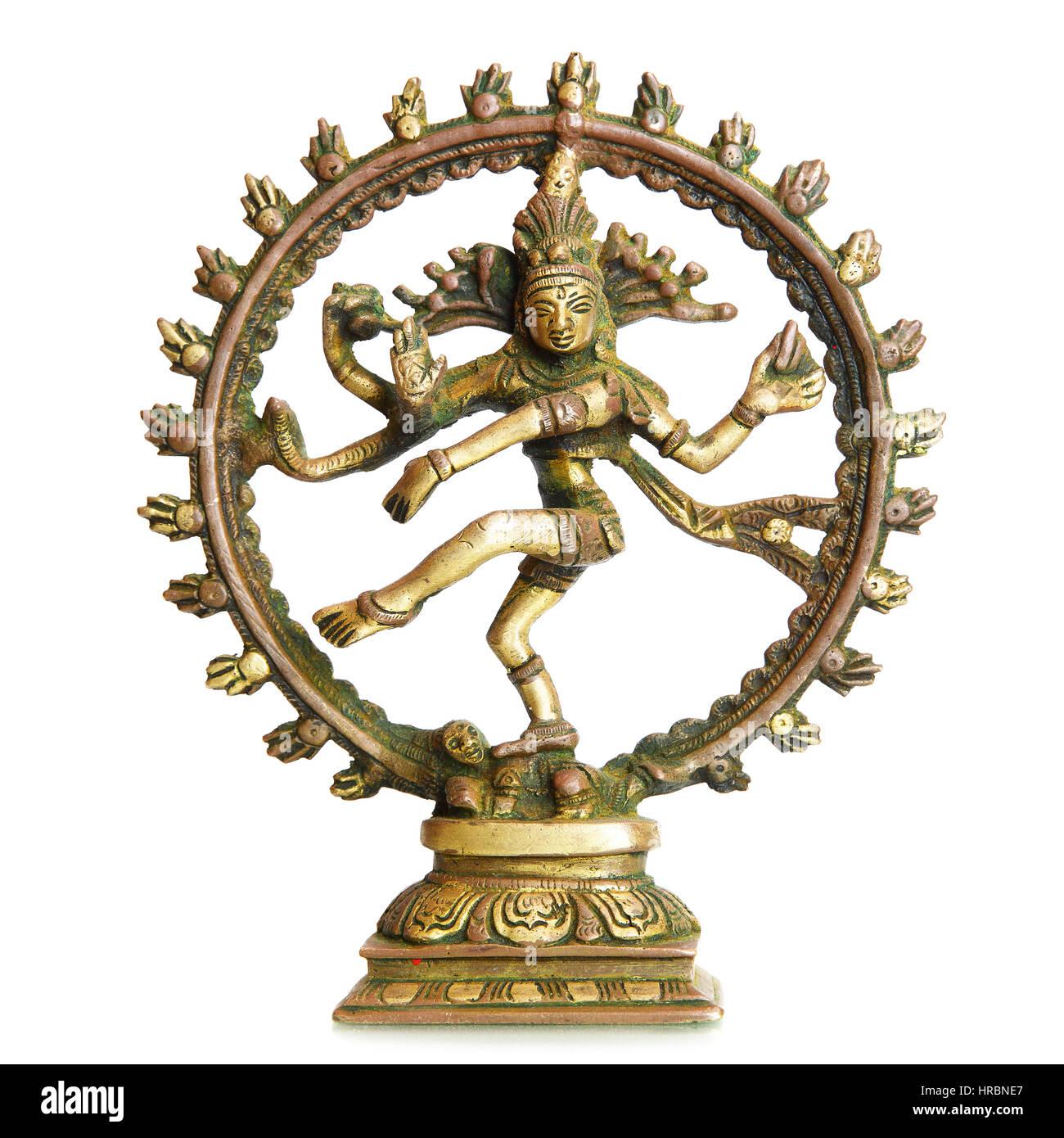 Figurine of Hindu God Shiva isolated over the white background - Stock Image