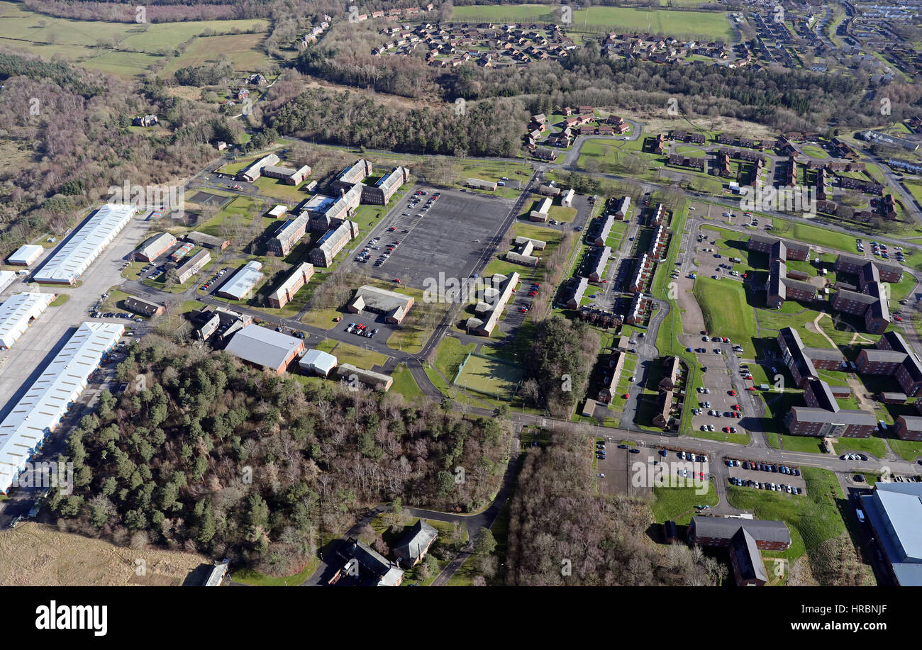aerial view of Catterick Garrison, North Yorkshire, UK - Stock Image