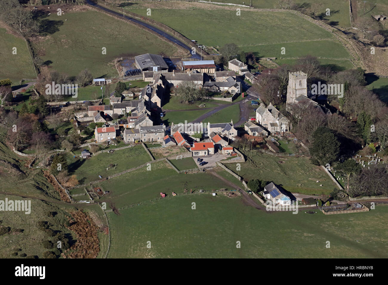 aerial view of Kirby Hill village near Richmond, North Yorkshire, UK Stock Photo