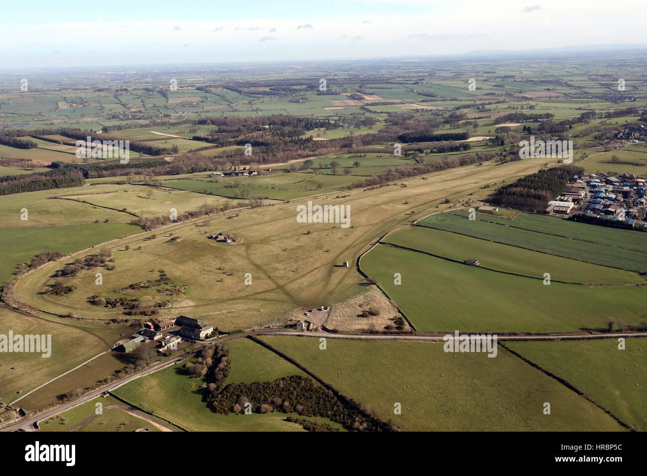 aerial view of the now disused Richmond Racecourse, North Yorkshire, UK Stock Photo