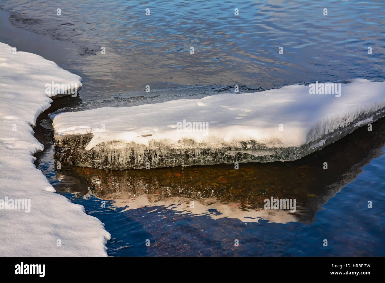 The reflection of the sky in cold water - Stock Image