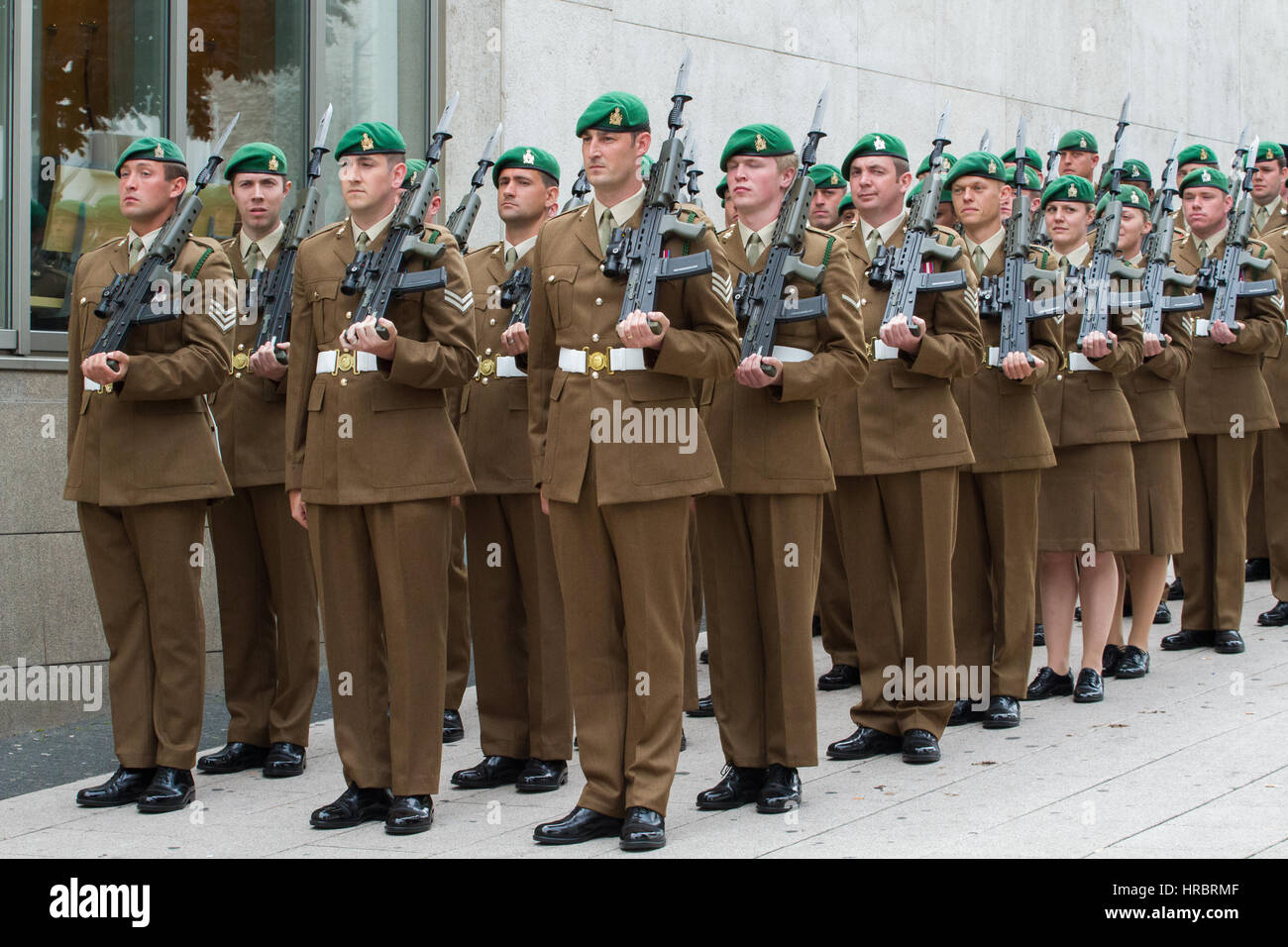 British soldiers prepare to march through Mönchengladbach, Germany on Friday, 12th July 2013 as they prepare - Stock Image