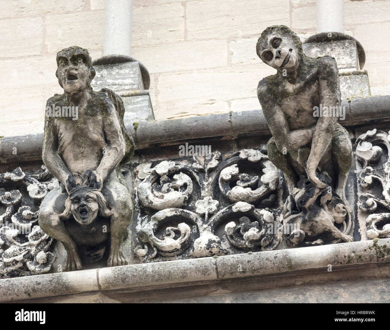 Fanciful gargoyles on the facade of Notre Dame Church, Dijon, Burgundy, France - Stock Image