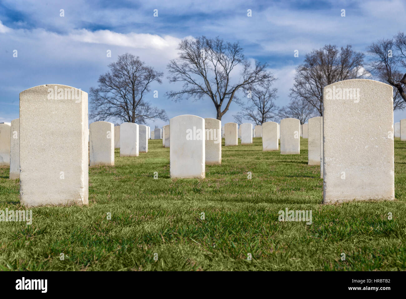 Rows of stately white tombstones in a United States Veterans Cemetery. Names and information has been removed to - Stock Image