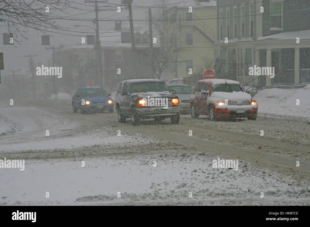 Snowstorm downtown Portland Maine traffic winter storm snow New